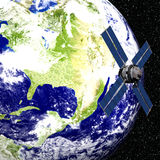 Earth with Satellite. 3D Earth with Satellite in Orbit Royalty Free Stock Images
