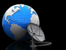 Earth and satellite antenna. 3d illustration of earth and satellite antenna over black background Stock Images