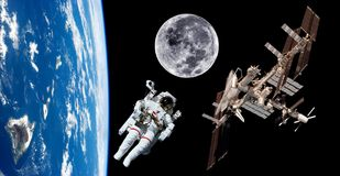 Earth Satellite Astronaut Space. Earth satellite space station astronaut background. Elements of this image furnished by NASA Stock Photos