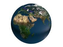 Earth with satellite 3d rendering. On white background stock illustration