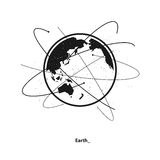Earth and satellite orbits Stock Images