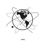 Earth and satellite orbits. Earth and satellites orbits. Western hemisphere Stock Image
