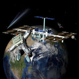 Earth Satellite Space Station. With astronauts. Elements of this image furnished by NASA Stock Photo