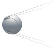 Earth satellite sputnik. 3D illustration Royalty Free Stock Photos