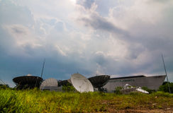 Earth Satellite station from below. Satellite station for communication or media mass Stock Photo