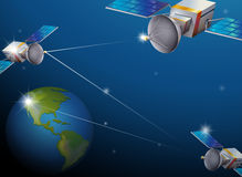 Earth and satellites Stock Images