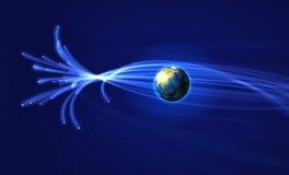 Satellites surrounding Earth. Illustration of satellites surrounding Planet Earth in blue space Royalty Free Stock Photos