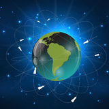 Earth with Satellites. View from Space. Vector Illustration Royalty Free Stock Photos