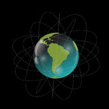 Earth with Satellites. View from Space. Vector Illustration Royalty Free Stock Images