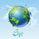 Earth. Save the Earth vector template, on sky background Stock Images