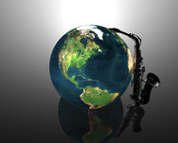 Earth and saxaphone Royalty Free Stock Photos
