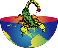 Earth with scorpion. The earth will be inhabited by insects. This file is also available as Illustrator-9-File Stock Photography