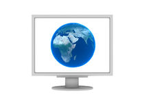 Earth on screen of computer. 3D isolated Royalty Free Stock Images