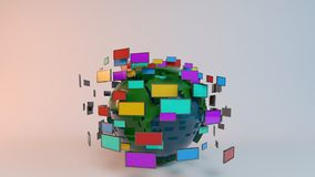 Earth with screen tvs for news. Media technologies concept: screens and TVs in front of earth sphere Royalty Free Stock Photos
