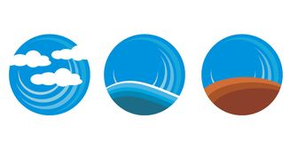 Earth sea and land. Circles for icons Royalty Free Stock Images