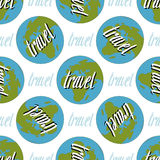 Earth seamless pattern. Travel handwritten Stock Images