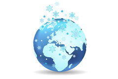 Earth season winter. A stylized ilustration of earth globe in winter Stock Photo
