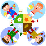 Earth Seasons with Boys. In autumn, winter, spring and summer. Eps file available Stock Illustration