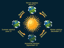 Earth seasons. Cycle of Earth seasons of the year: autumnal and vernal equinox, summer and winter solstice. Planet Earth orbit around the sun. Cartoon vector Stock Photo