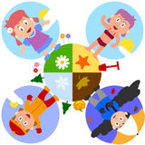Earth Seasons with Girls. In autumn, winter, spring and summer. Eps file available stock illustration