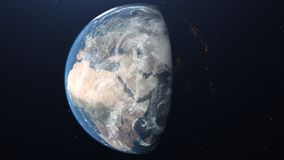 Earth seen from space with city lighting royalty free stock image