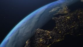 Earth seen from space with city lighting royalty free stock photos