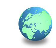 Earth with shadow on white background stock photography