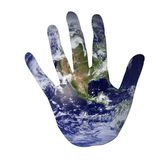 Earth in the shape of a hand. Isolated on white to symbolize ecological issues. Earth photo from Nasa Stock Photography