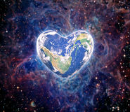 The earth in the shape of a heart, elements of this image furnis Royalty Free Stock Image