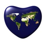 The Earth in the shape of heart isolated on white Royalty Free Stock Photos
