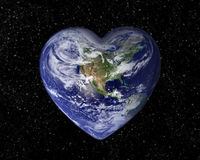 The earth in the shape of a heart. Starry background Stock Photo