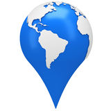 Earth shaped map pointer Stock Photo