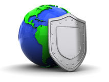 Earth and shield Royalty Free Stock Image