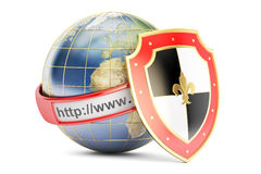 Earth with shield, internet concept. 3D rendering Royalty Free Stock Image
