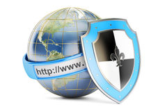 Earth with shield, internet concept. 3D rendering Royalty Free Stock Photo