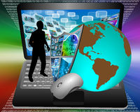 Earth Shield and laptop Royalty Free Stock Images
