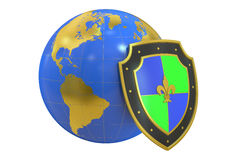 Earth with shield, protect concept. 3D rendering Stock Photo
