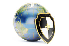 Earth with shield, protect concept. 3D rendering isolated Royalty Free Stock Images