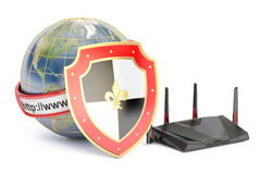 Earth with shield and router, internet protect concept. 3D rende Royalty Free Stock Photo