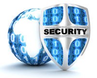 Earth and shield security Royalty Free Stock Photos