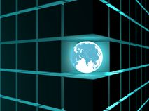 Earth. Shining neon globe in dark construction Royalty Free Stock Photos