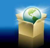 Earth in Shipping Delivery Box. The planet Earth is inside of a cardboard delivery box for shipping.  Can be used for international shipping and travel for your Stock Photo