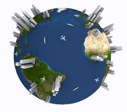 Earth with ships, planes and skyscrapers vector illustration