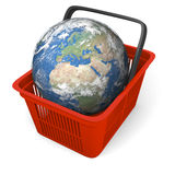 Earth in shopping basket Stock Photography