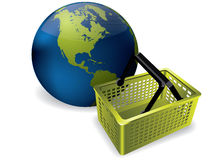 Earth and shopping basket Stock Image