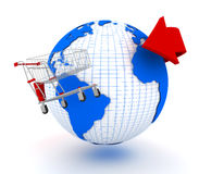 Earth and shopping cart Royalty Free Stock Photography