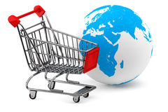 Earth with a Shopping cart Stock Images