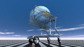 Earth in shopping cart Royalty Free Stock Photos