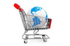 Earth with a Shopping cart Royalty Free Stock Photos