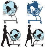 Earth Shopping Cart People. Earth Globe in Shopping Cart pushed by man, woman in silhouette vector illustration